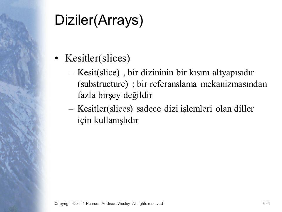 Diziler(Arrays) Kesitler(slices)