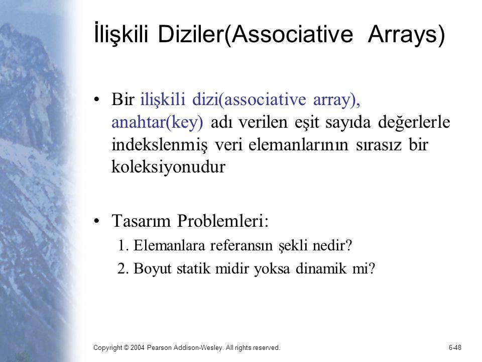 İlişkili Diziler(Associative Arrays)