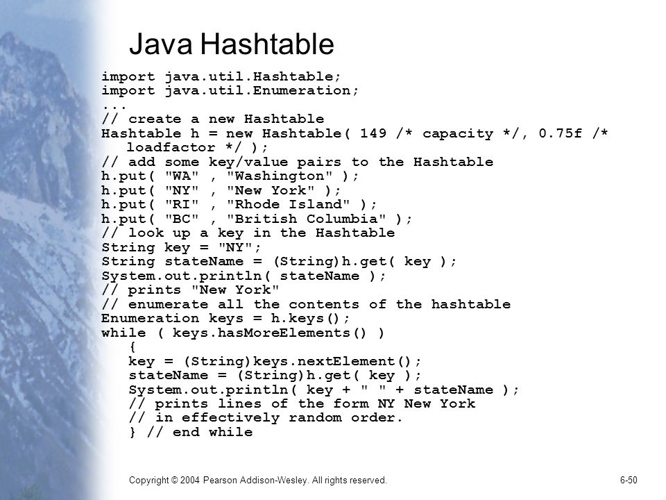 Java Hashtable import java.util.Hashtable;