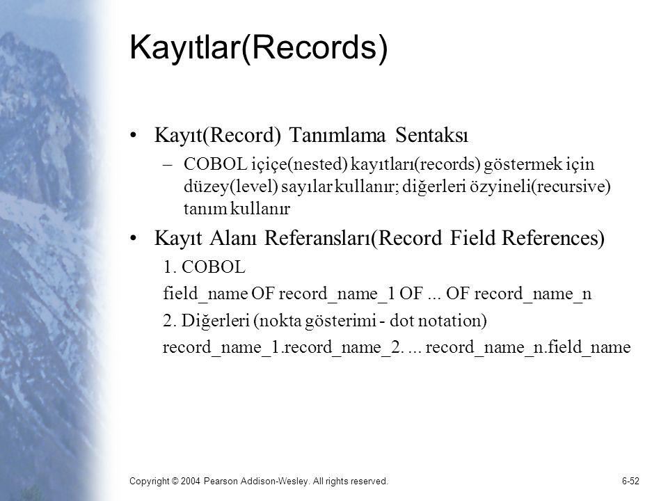 Kayıtlar(Records) Kayıt(Record) Tanımlama Sentaksı