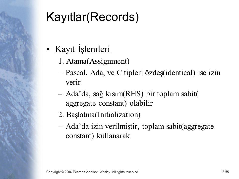 Kayıtlar(Records) Kayıt İşlemleri 1. Atama(Assignment)
