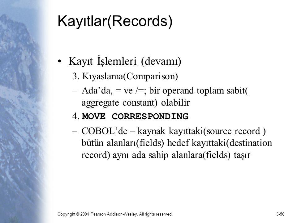 Kayıtlar(Records) Kayıt İşlemleri (devamı) 3. Kıyaslama(Comparison)