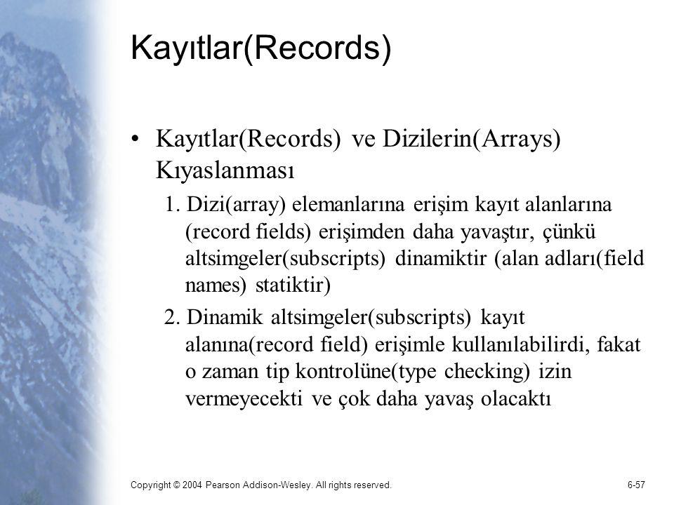 Kayıtlar(Records) Kayıtlar(Records) ve Dizilerin(Arrays) Kıyaslanması