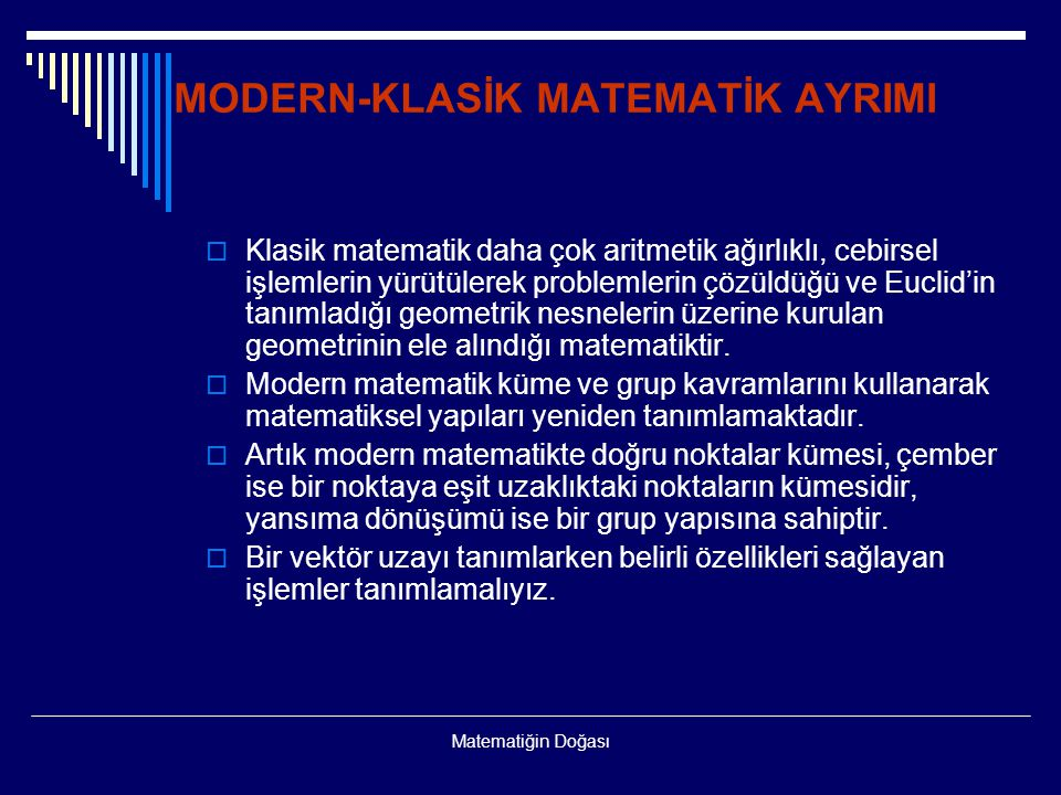 MODERN-KLASİK MATEMATİK AYRIMI