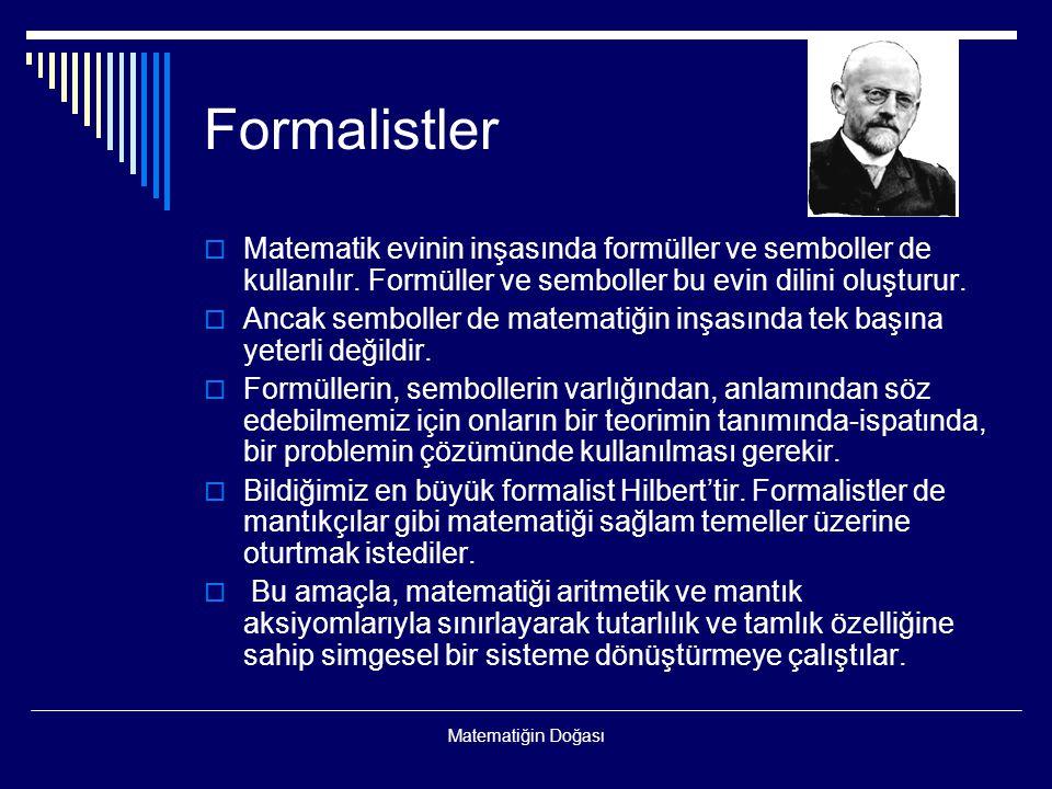 Formalistler Matematik evinin inşasında formüller ve semboller de kullanılır. Formüller ve semboller bu evin dilini oluşturur.