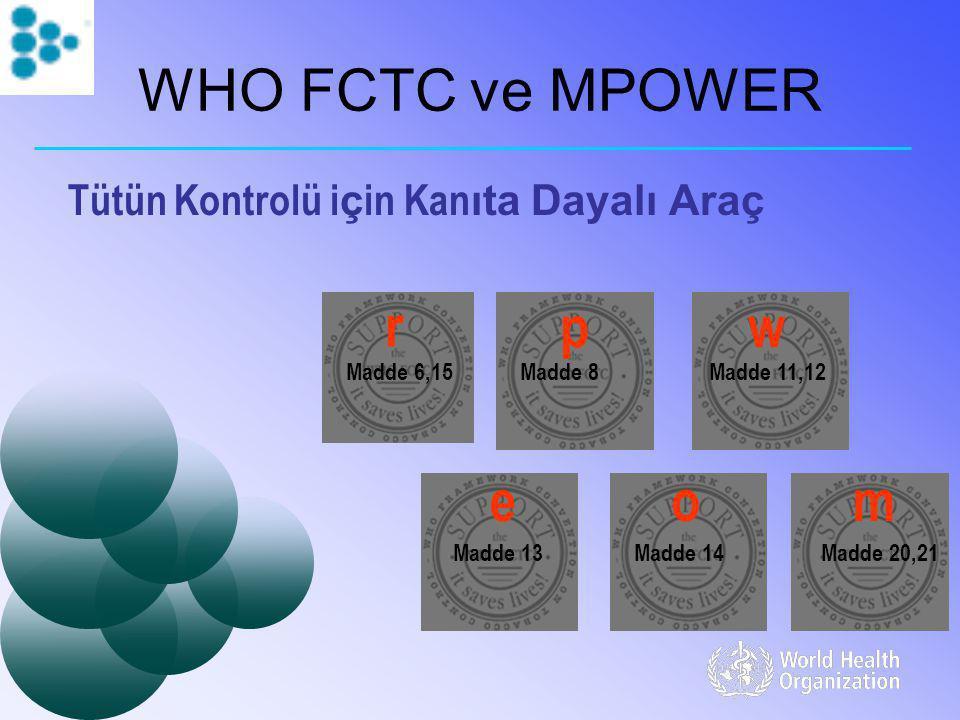WHO FCTC ve MPOWER r p w e o m Tütün Kontrolü için Kanıta Dayalı Araç