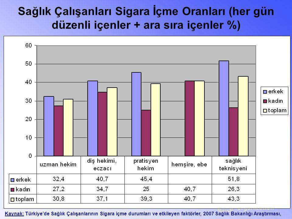 Sağlık Çalışanları Sigara İçme Oranları (her gün düzenli içenler + ara sıra içenler %)