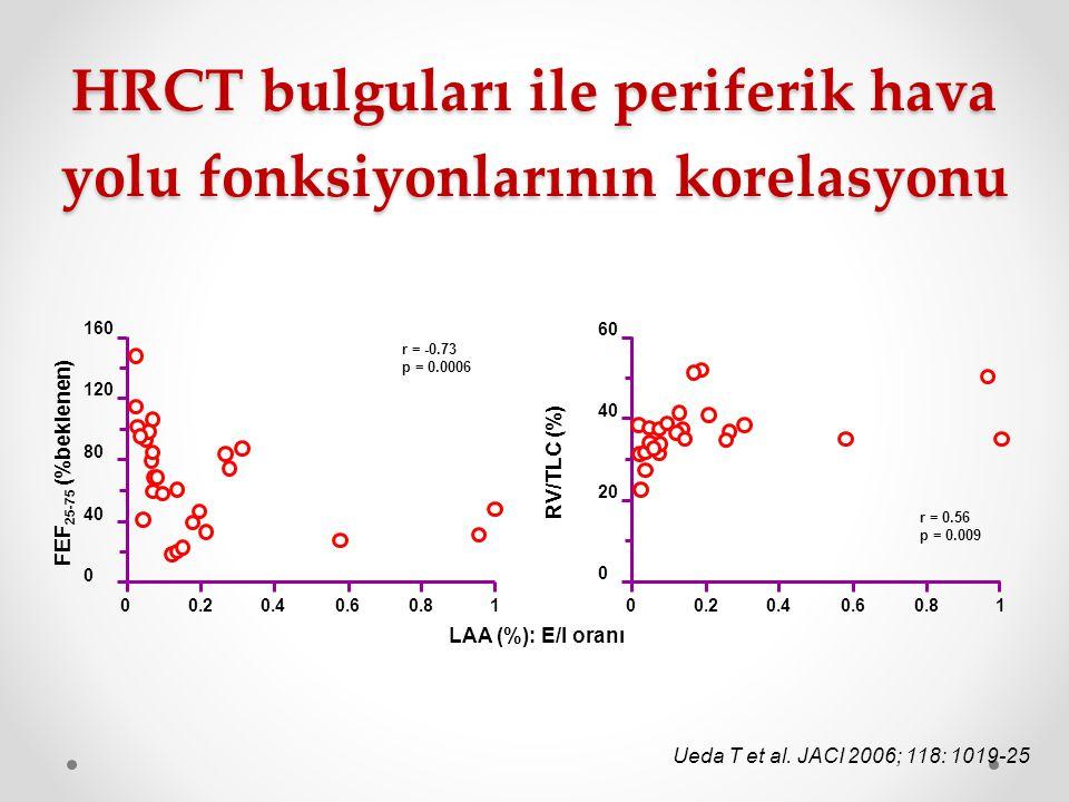 HRCT bulguları ile periferik hava yolu fonksiyonlarının korelasyonu