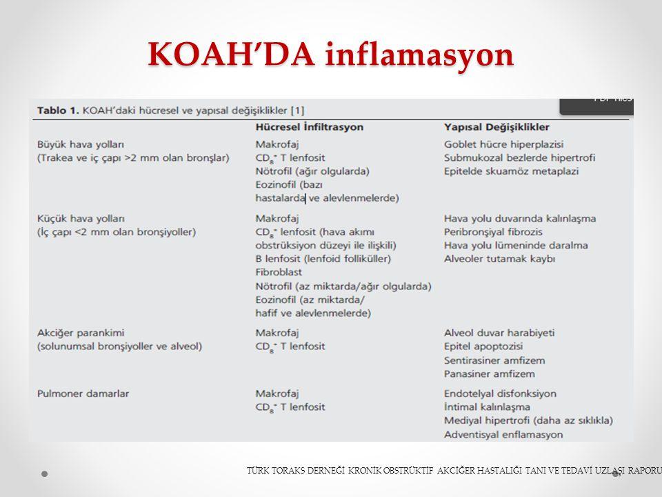 KOAH'DA inflamasyon Burda özelliklealevlenmelerde astıma benzer eozinofilik infilrasyonu görüyoruz buda streoide.