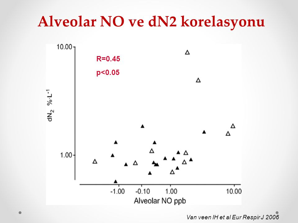 Alveolar NO ve dN2 korelasyonu