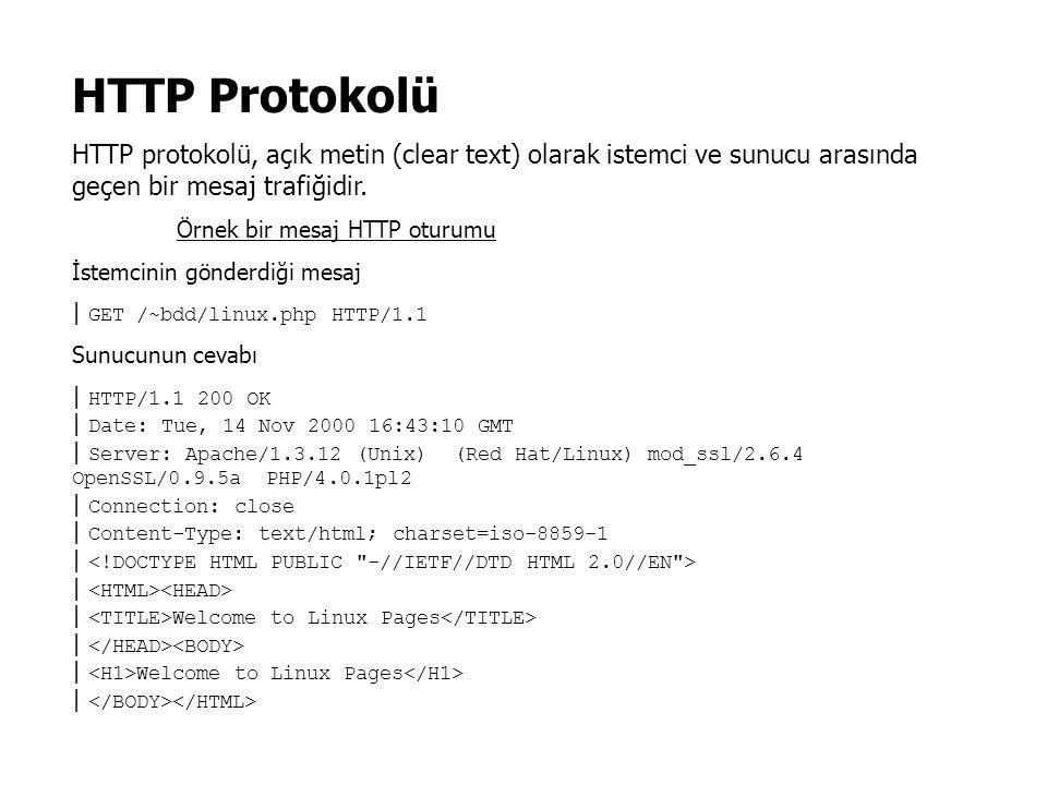 HTTP Protokolü HTTP protokolü, açık metin (clear text) olarak istemci ve sunucu arasında geçen bir mesaj trafiğidir.
