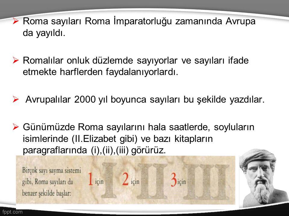 Roma sayıları Roma İmparatorluğu zamanında Avrupa da yayıldı.