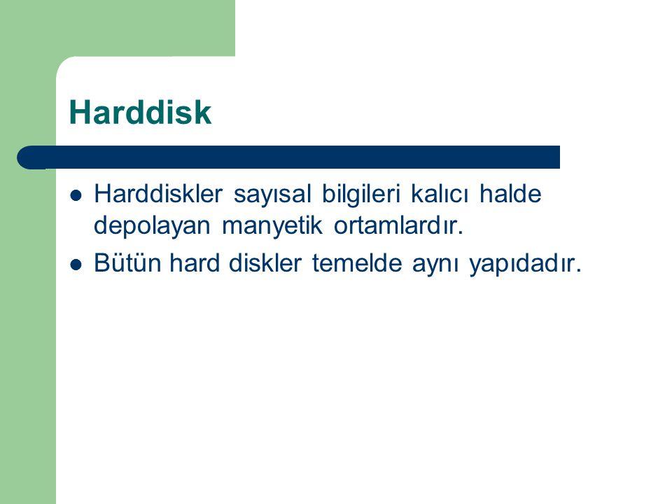 Harddisk Harddiskler sayısal bilgileri kalıcı halde depolayan manyetik ortamlardır.
