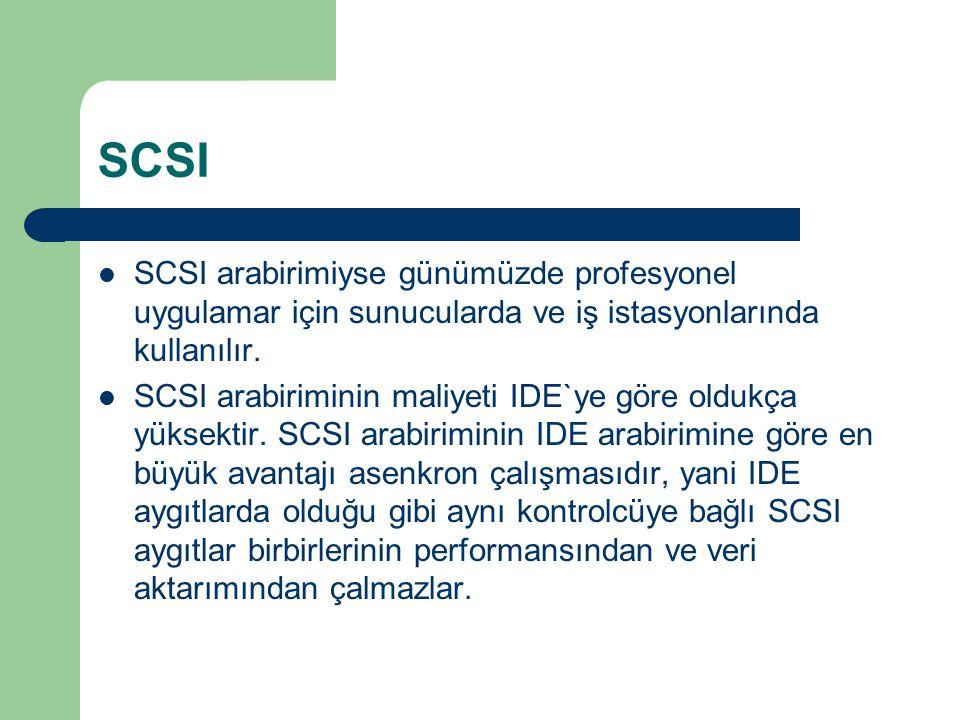 SCSI SCSI arabirimiyse günümüzde profesyonel uygulamar için sunucularda ve iş istasyonlarında kullanılır.