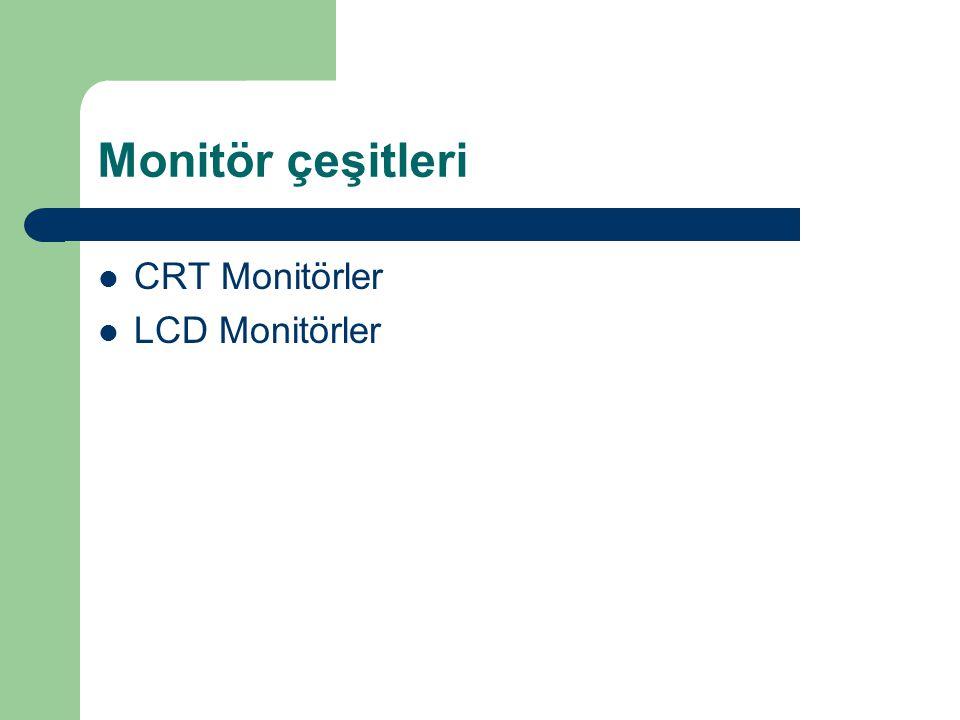 Monitör çeşitleri CRT Monitörler LCD Monitörler