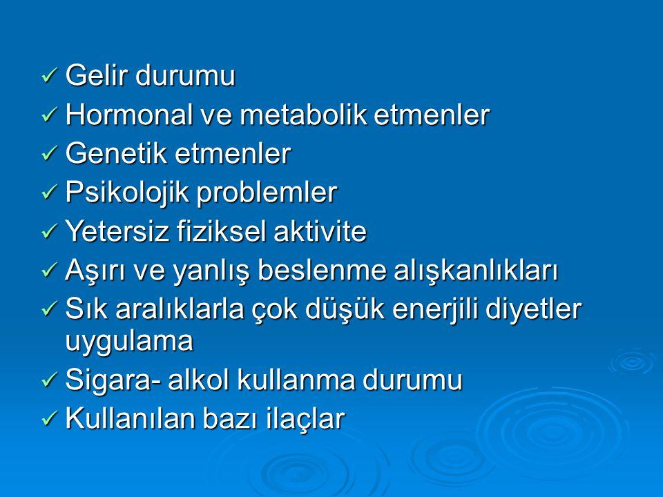 Gelir durumu Hormonal ve metabolik etmenler. Genetik etmenler. Psikolojik problemler. Yetersiz fiziksel aktivite.