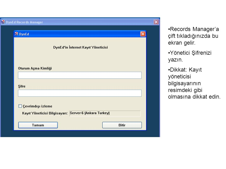 Records Manager'a çift tıkladığınızda bu ekran gelir.