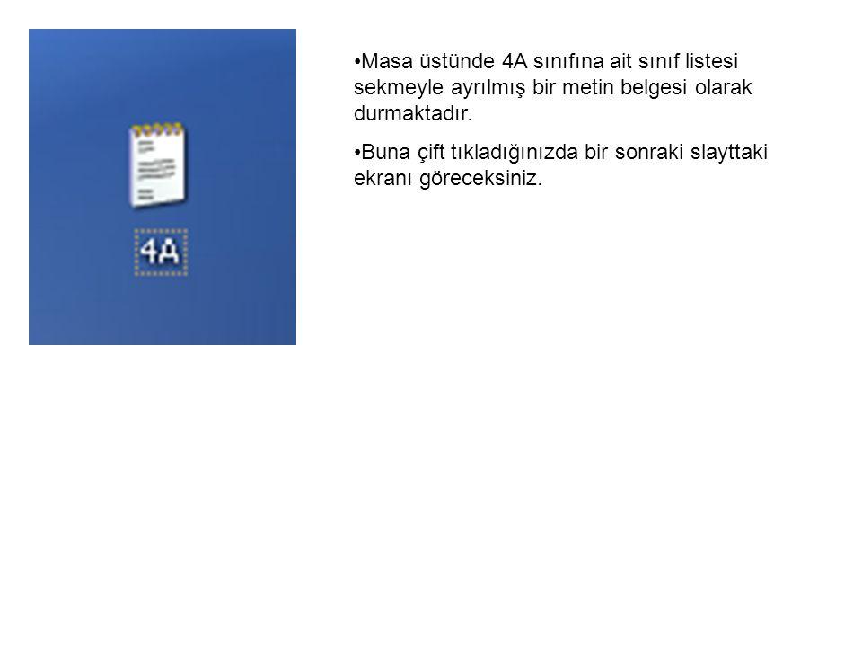 Masa üstünde 4A sınıfına ait sınıf listesi sekmeyle ayrılmış bir metin belgesi olarak durmaktadır.