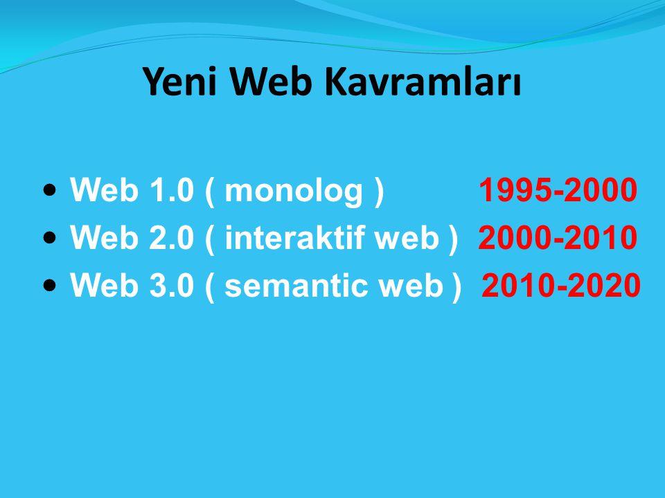 Yeni Web Kavramları Web 1.0 ( monolog ) 1995-2000