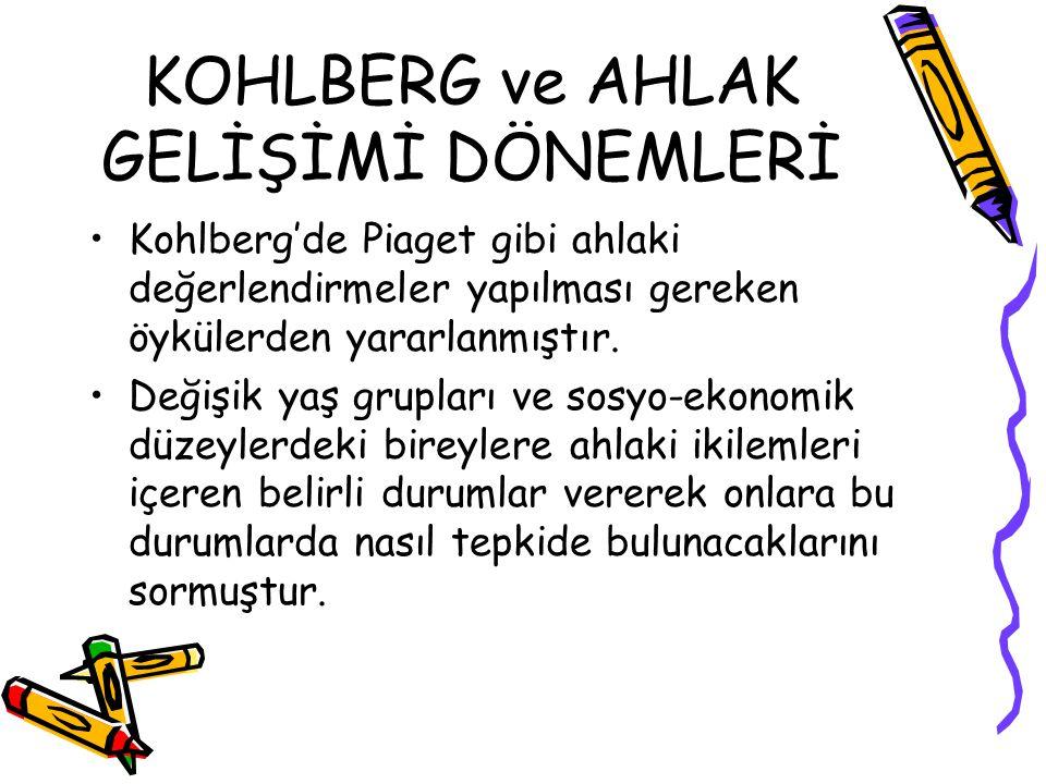 KOHLBERG ve AHLAK GELİŞİMİ DÖNEMLERİ