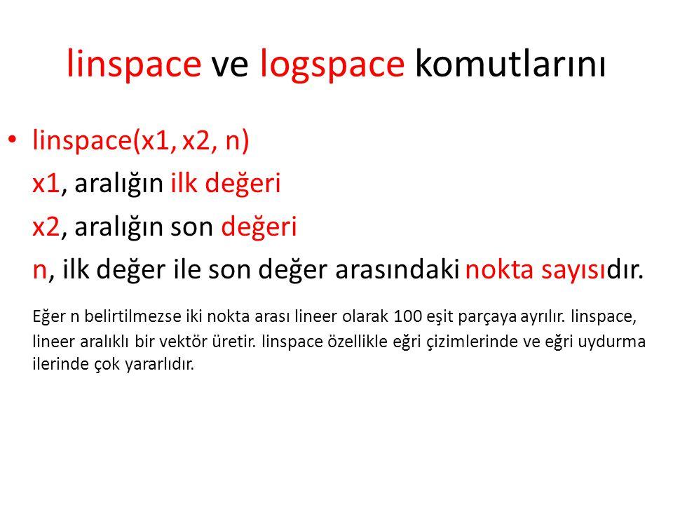 linspace ve logspace komutlarını