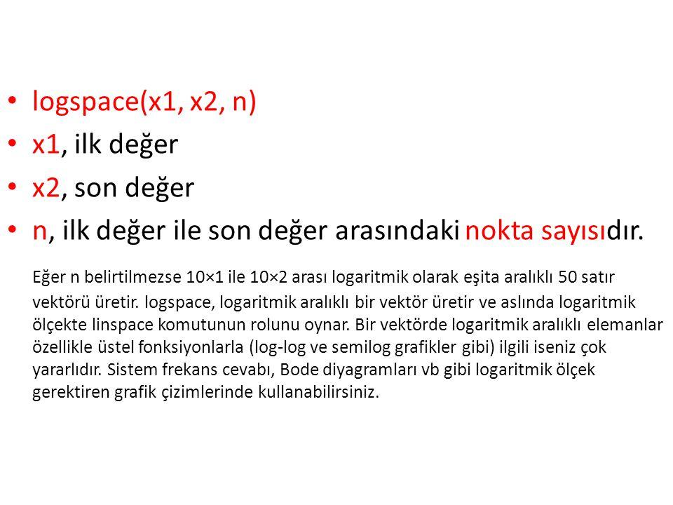 logspace(x1, x2, n) x1, ilk değer. x2, son değer. n, ilk değer ile son değer arasındaki nokta sayısıdır.