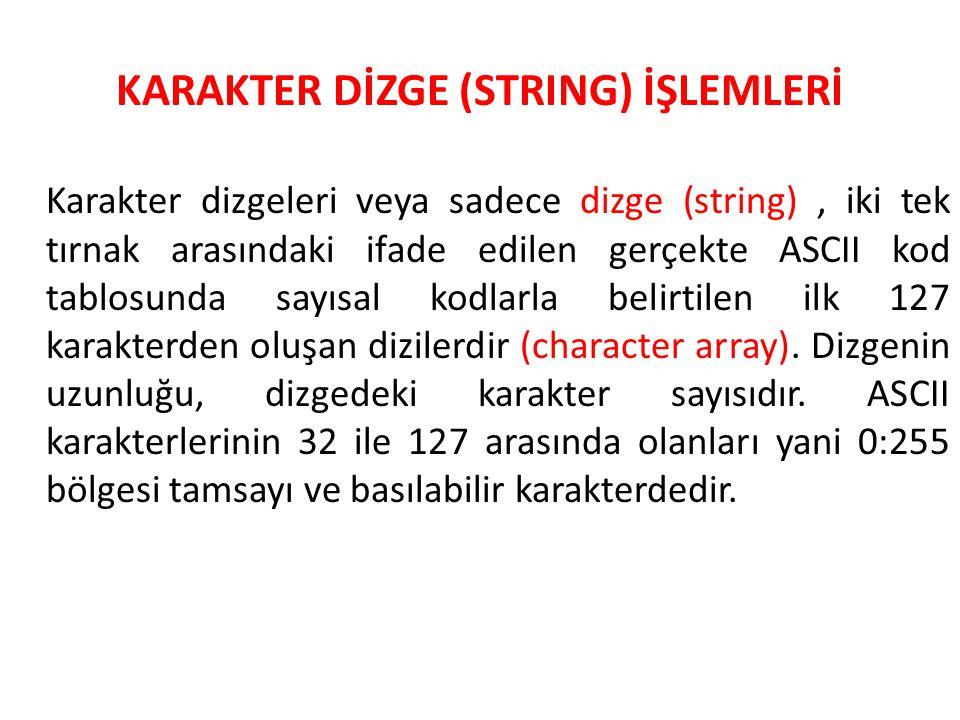 KARAKTER DİZGE (STRING) İŞLEMLERİ