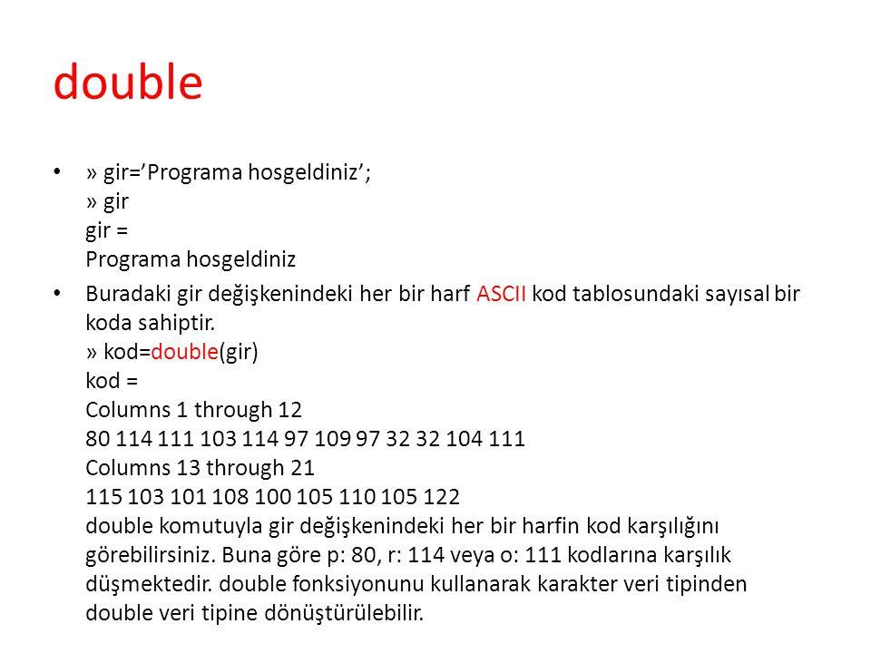 double » gir='Programa hosgeldiniz'; » gir gir = Programa hosgeldiniz