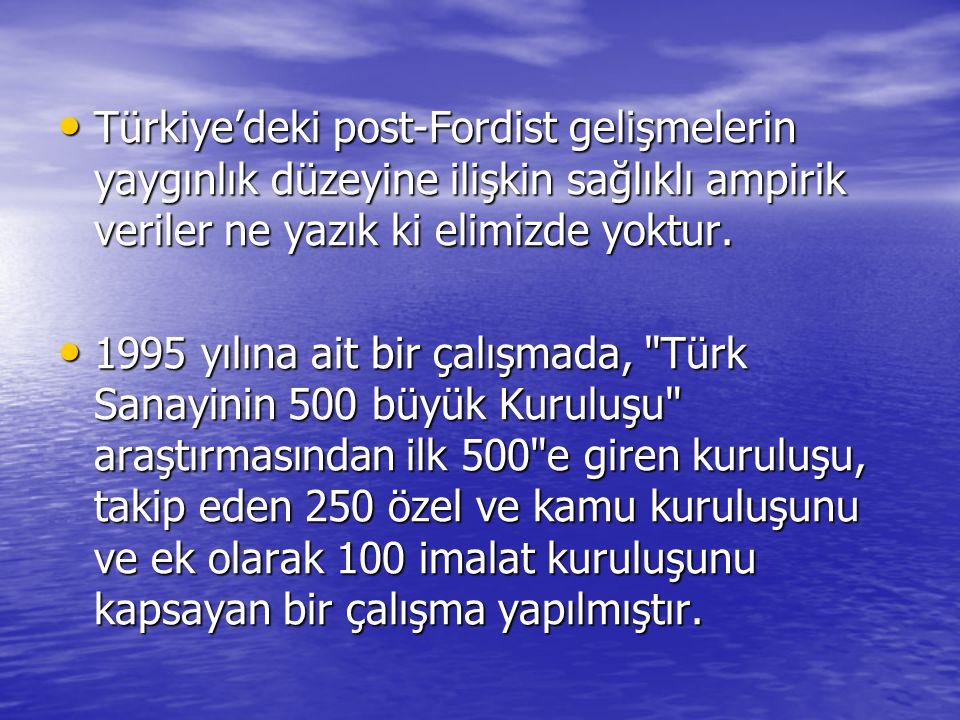Türkiye'deki post-Fordist gelişmelerin yaygınlık düzeyine ilişkin sağlıklı ampirik veriler ne yazık ki elimizde yoktur.