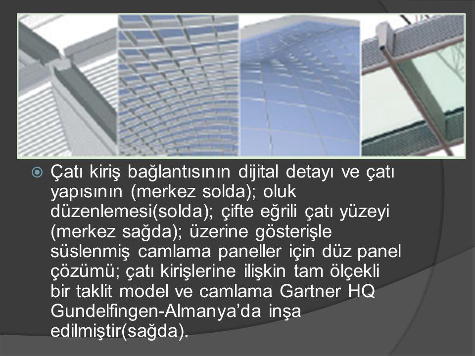 Çatı kiriş bağlantısının dijital detayı ve çatı yapısının (merkez solda); oluk düzenlemesi(solda); çifte eğrili çatı yüzeyi (merkez sağda); üzerine gösterişle süslenmiş camlama paneller için düz panel çözümü; çatı kirişlerine ilişkin tam ölçekli bir taklit model ve camlama Gartner HQ Gundelfingen-Almanya'da inşa edilmiştir(sağda).