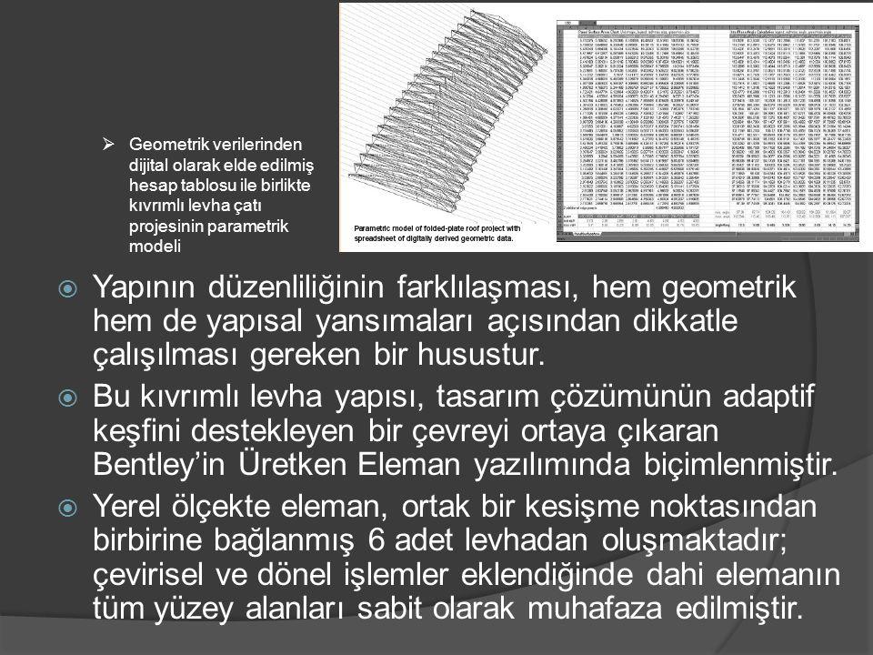 Geometrik verilerinden dijital olarak elde edilmiş hesap tablosu ile birlikte kıvrımlı levha çatı projesinin parametrik modeli