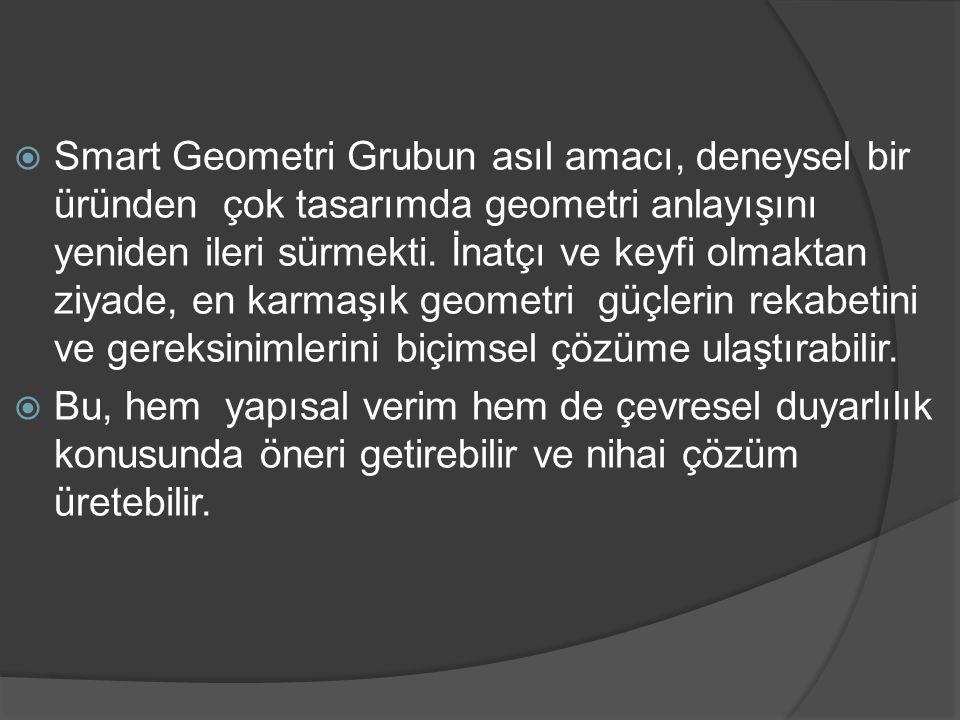Smart Geometri Grubun asıl amacı, deneysel bir üründen çok tasarımda geometri anlayışını yeniden ileri sürmekti. İnatçı ve keyfi olmaktan ziyade, en karmaşık geometri güçlerin rekabetini ve gereksinimlerini biçimsel çözüme ulaştırabilir.