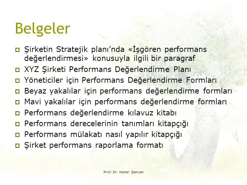Belgeler Şirketin Stratejik planı'nda «İşgören performans değerlendirmesi» konusuyla ilgili bir paragraf.