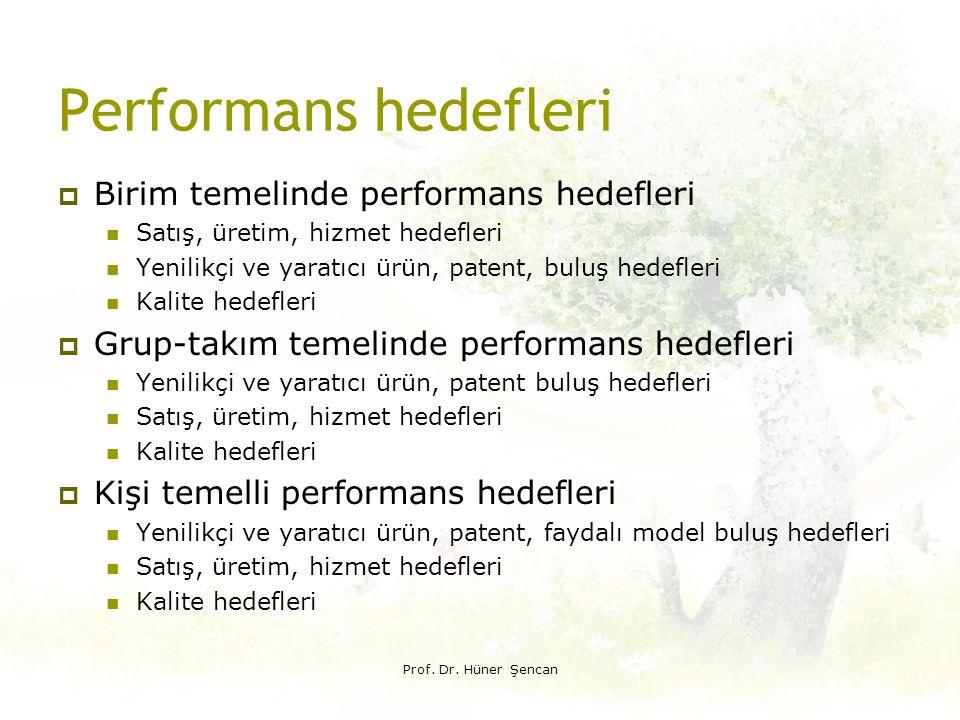 Performans hedefleri Birim temelinde performans hedefleri