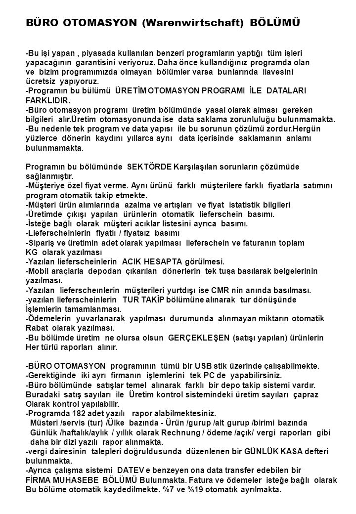 BÜRO OTOMASYON (Warenwirtschaft) BÖLÜMÜ