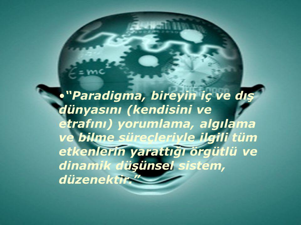 Paradigma, bireyin iç ve dış dünyasını (kendisini ve etrafını) yorumlama, algılama ve bilme süreçleriyle ilgili tüm etkenlerin yarattığı örgütlü ve dinamik düşünsel sistem, düzenektir.