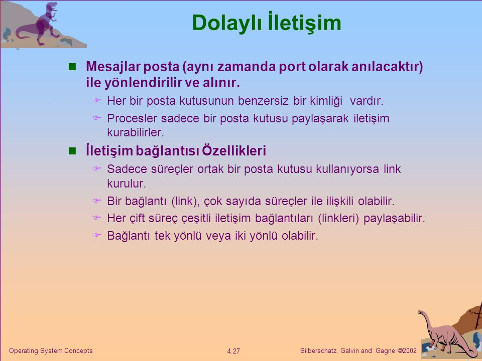 Dolaylı İletişim Mesajlar posta (aynı zamanda port olarak anılacaktır) ile yönlendirilir ve alınır.