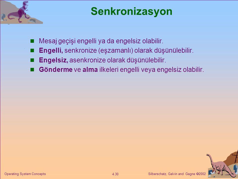 Senkronizasyon Mesaj geçişi engelli ya da engelsiz olabilir.