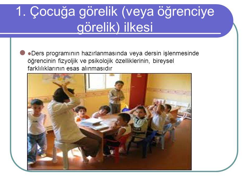 1. Çocuğa görelik (veya öğrenciye görelik) ilkesi