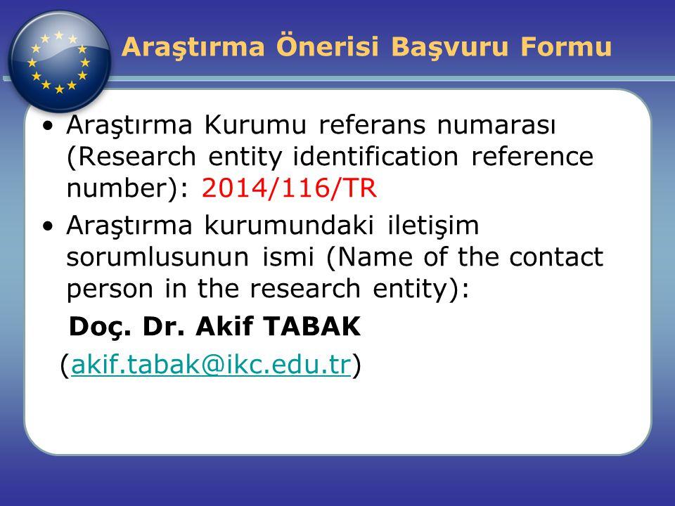Araştırma Önerisi Başvuru Formu