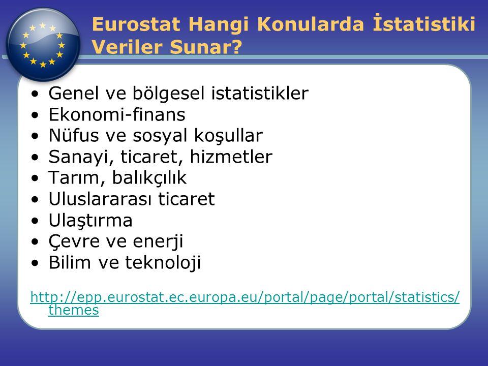 Eurostat Hangi Konularda İstatistiki Veriler Sunar