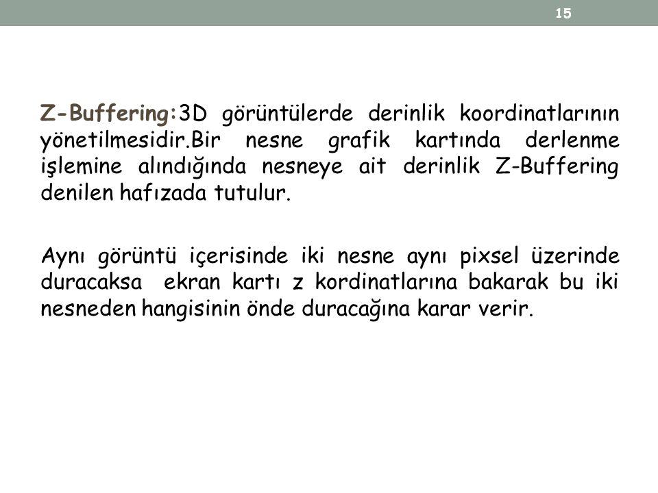 Z-Buffering:3D görüntülerde derinlik koordinatlarının yönetilmesidir