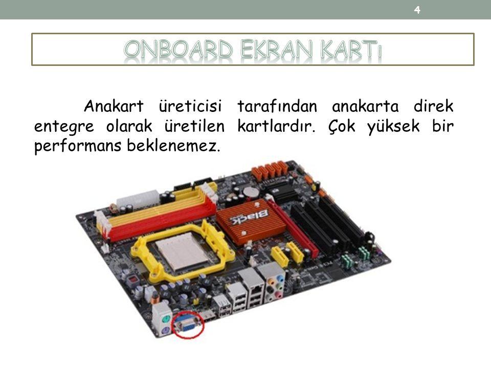 Onboard Ekran Kartı Anakart üreticisi tarafından anakarta direk entegre olarak üretilen kartlardır.