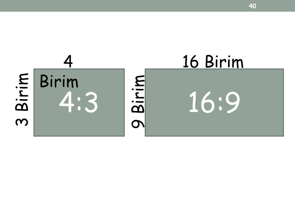 4 Birim 16 Birim 4:3 16:9 9 Birim 3 Birim