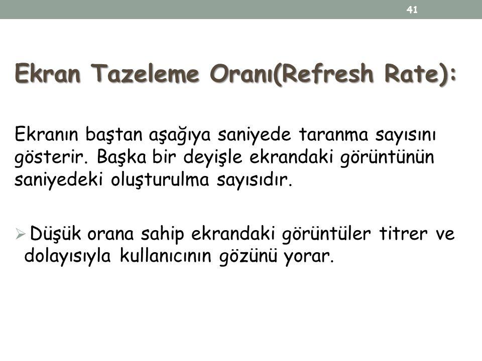 Ekran Tazeleme Oranı(Refresh Rate):