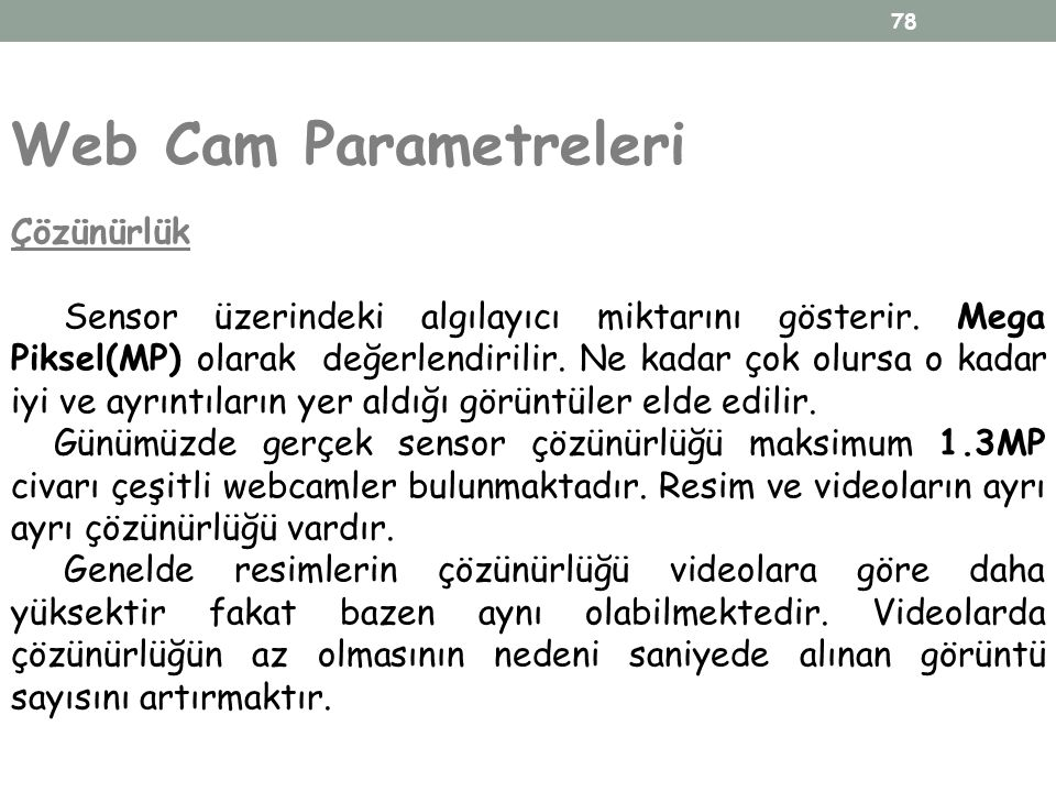 Web Cam Parametreleri Çözünürlük