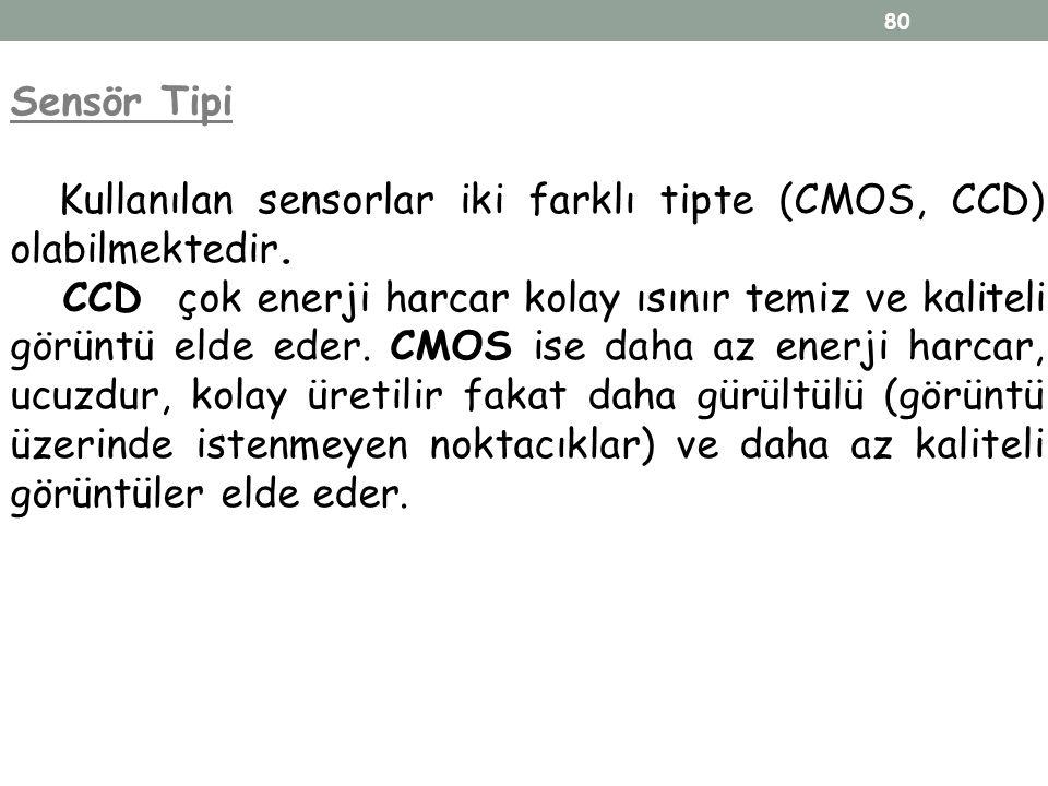 Sensör Tipi Kullanılan sensorlar iki farklı tipte (CMOS, CCD) olabilmektedir.