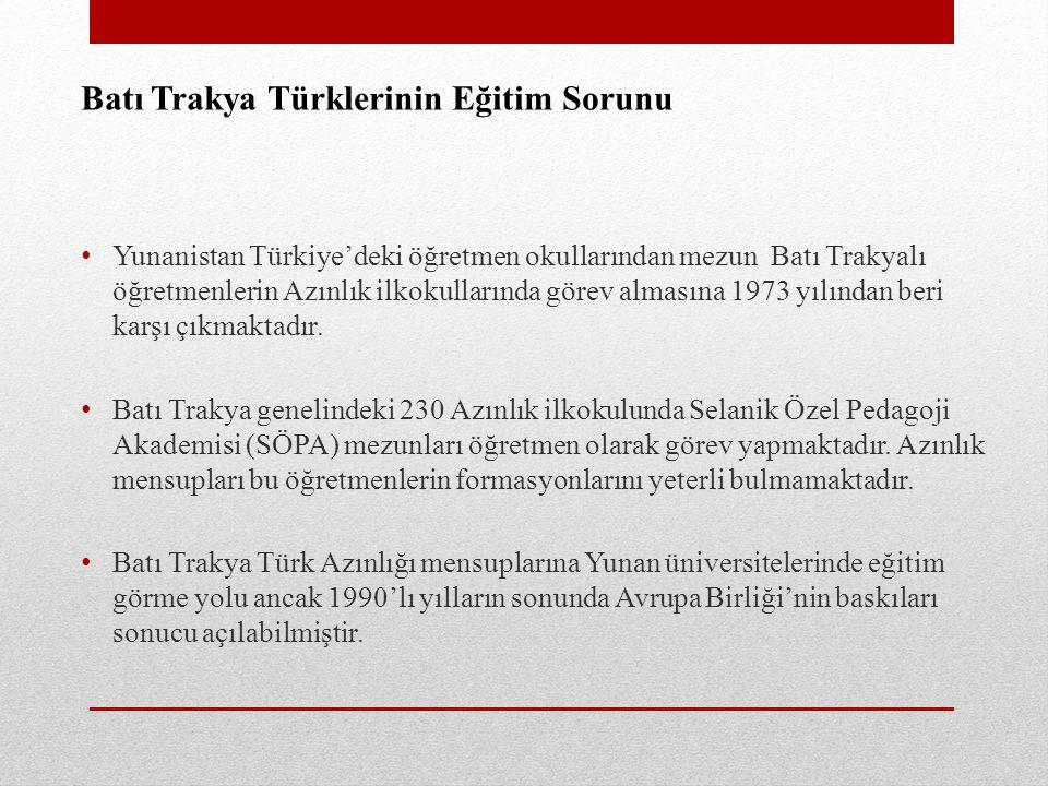 Batı Trakya Türklerinin Eğitim Sorunu