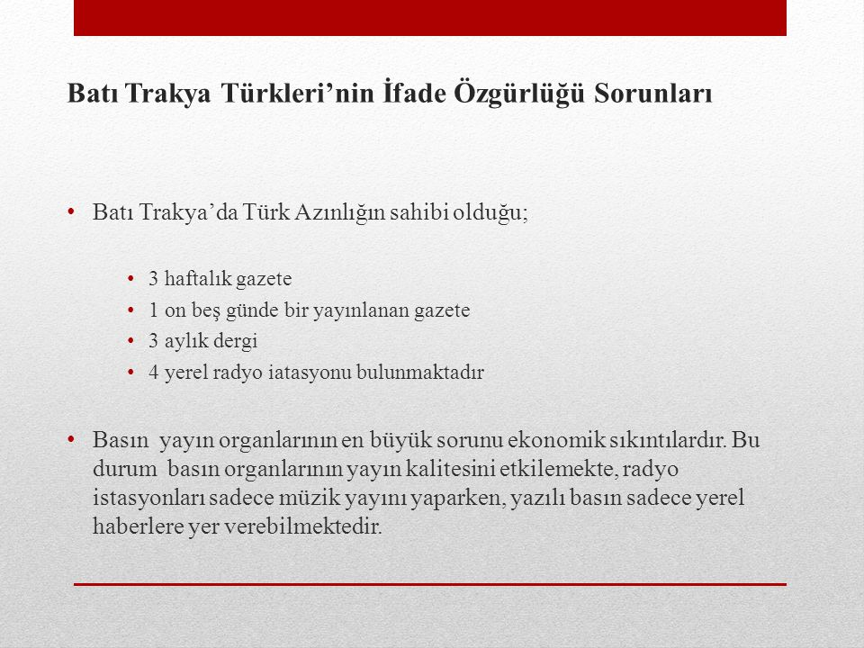 Batı Trakya Türkleri'nin İfade Özgürlüğü Sorunları