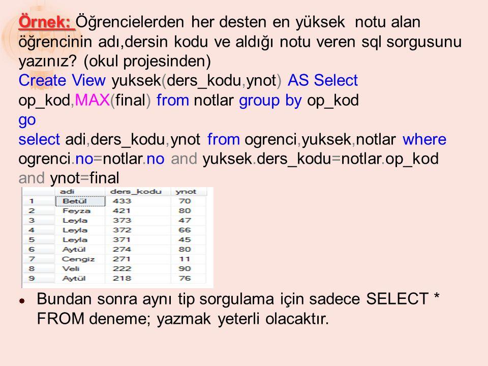 Örnek: Öğrencielerden her desten en yüksek notu alan öğrencinin adı,dersin kodu ve aldığı notu veren sql sorgusunu yazınız (okul projesinden)